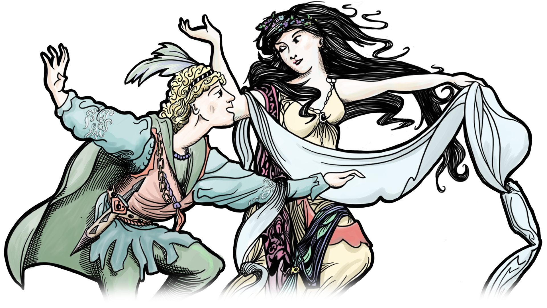The Prince and The Ice Maiden dancing on the cover of King of the Woods